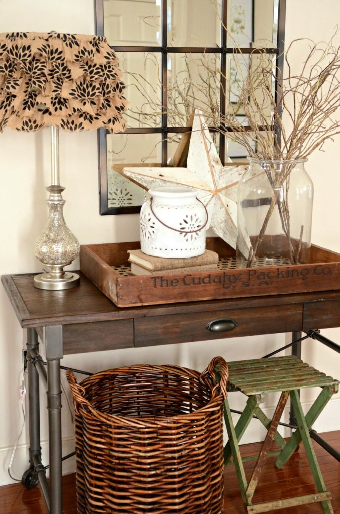 WINTER FOYER-table with simple designs-stonegableblog.com