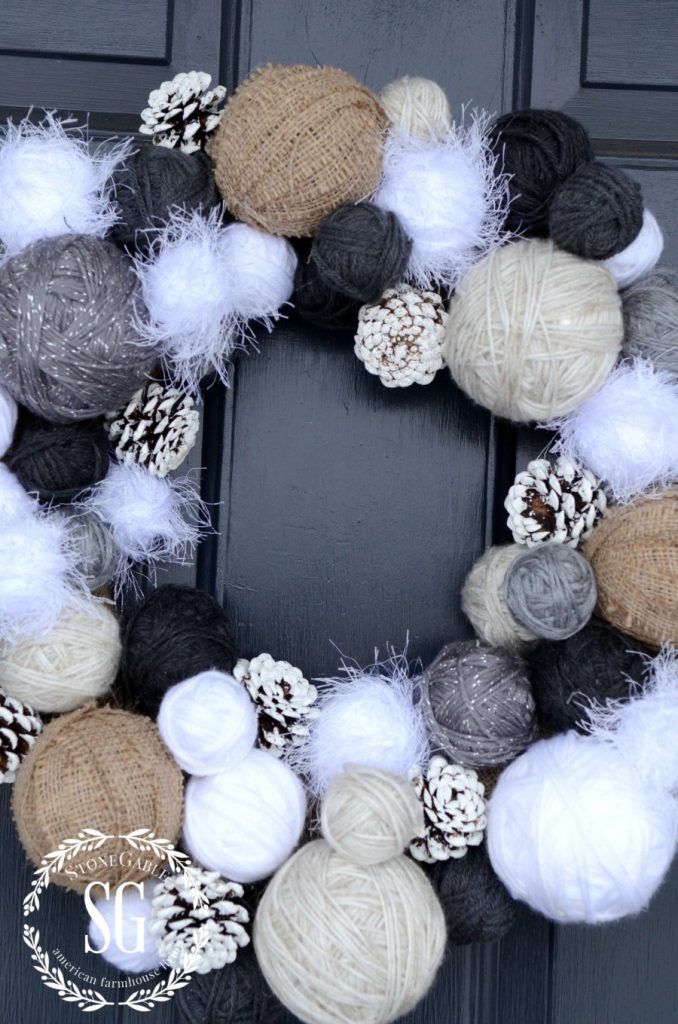 YARN BALL WREATH-full and warm-stonegableblog.com