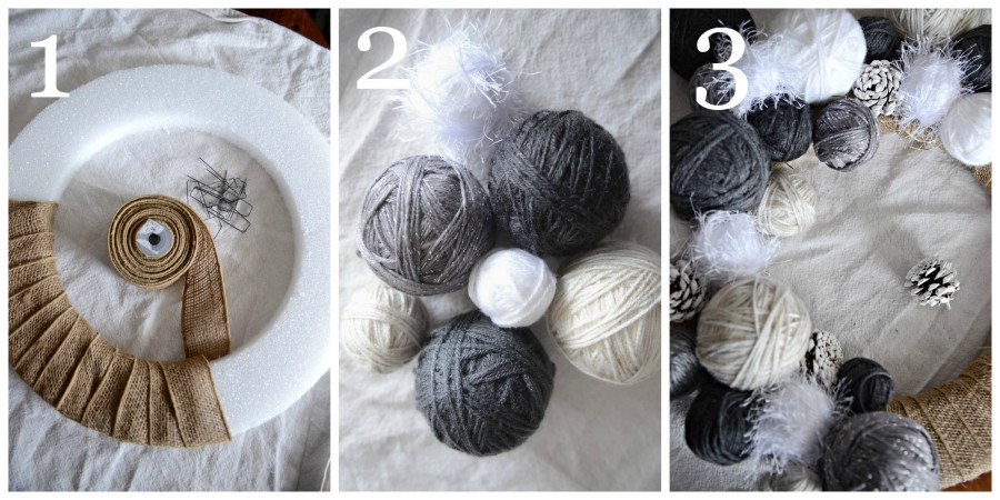 YARN BALL WREATH- instructions 1 to 3-stonegableblog.com