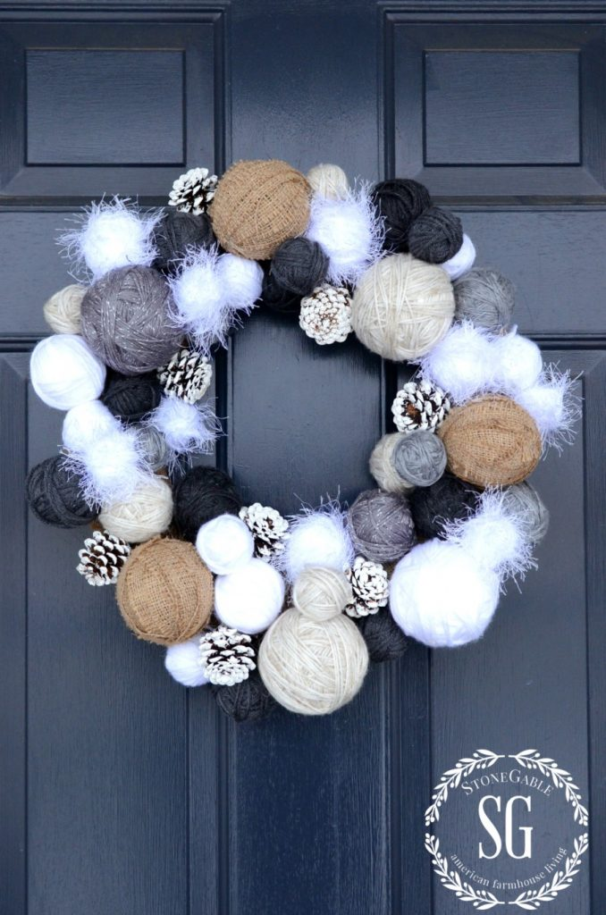 YARN BALL WREATH-stonegableblog.com