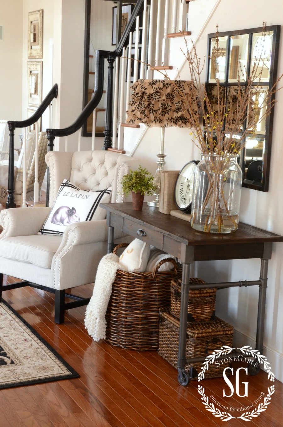 ADDING AN UPHOLSTERED CHAIR TO THE FOYER- breaking the decorating rules and opting for comfort-stonegableblog.com