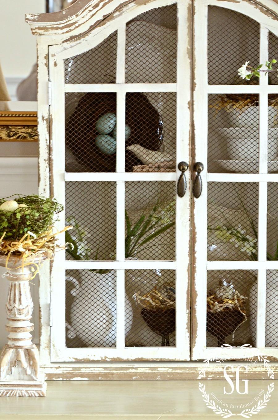 DECOR STEAL WHITE HUTCH- distressed white window cabinet-stonegableblog.com