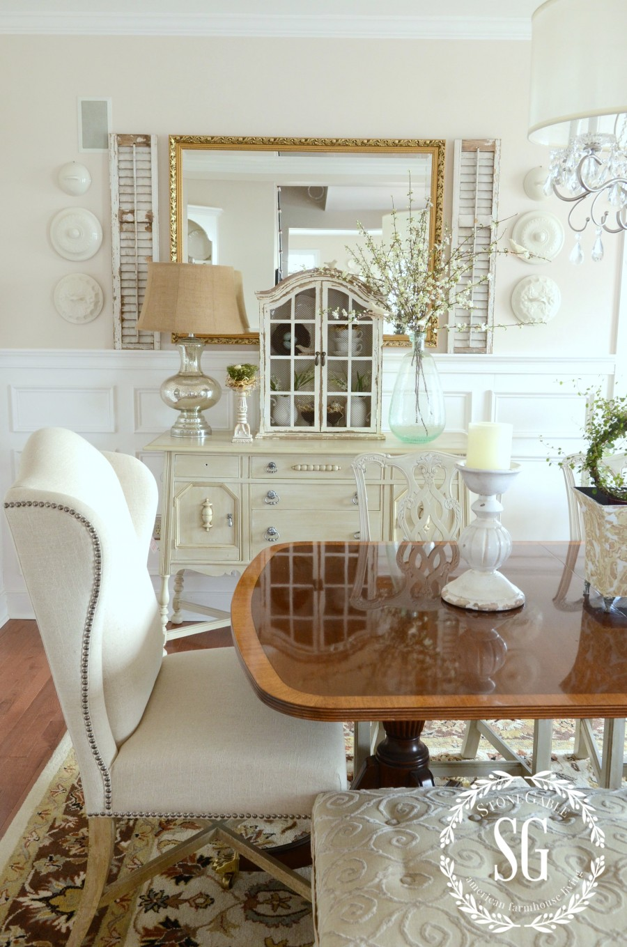 DECOR STEAL WHITE HUTCH-in the dining room-spring-stonegableblog.com