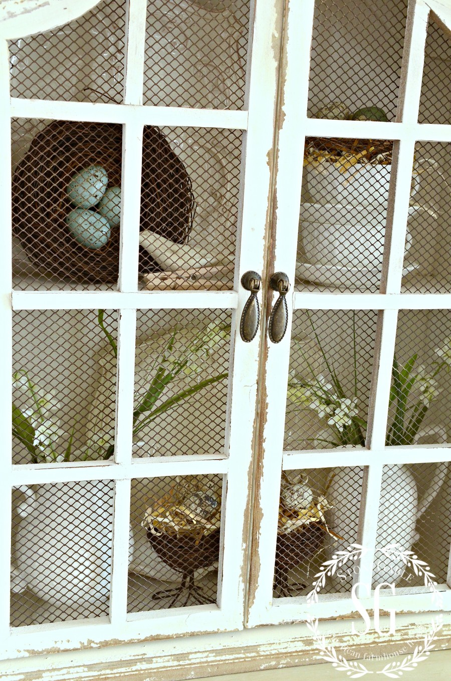 DECOR STEAL WHITE HUTCH-pretty closures-metal mesh doors-stonegableblog.com