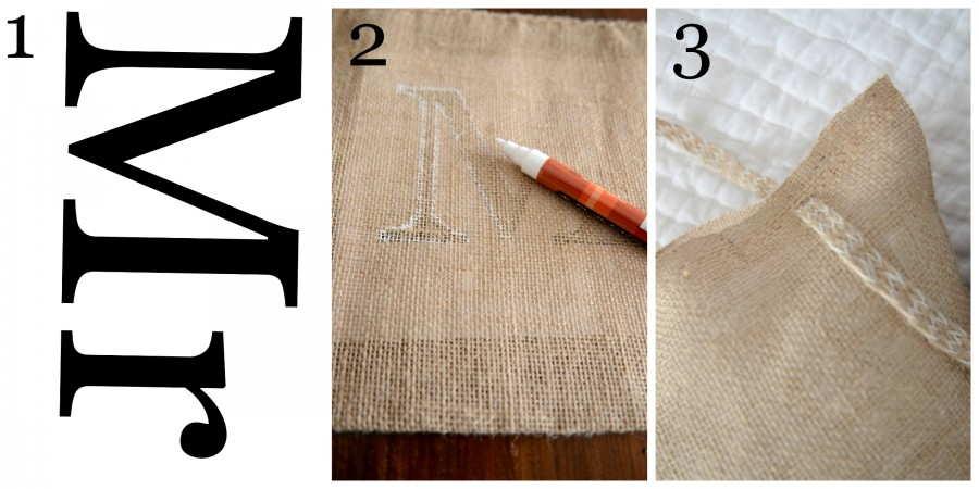MR AND MRS NO-SEW BURLAP PILLOWS-Instructions 1 to 3-stonegableblog.com