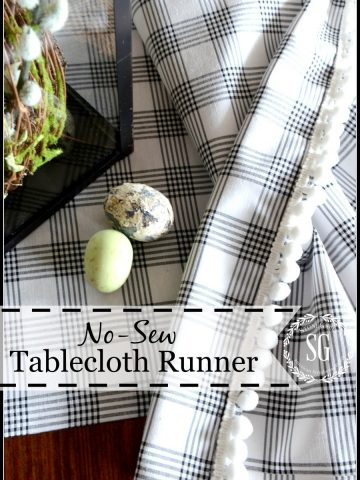 NO-SEW TABLESCLOTH RUNNER-upscale an old or inexpensive tablecloth-stonegableblog.com