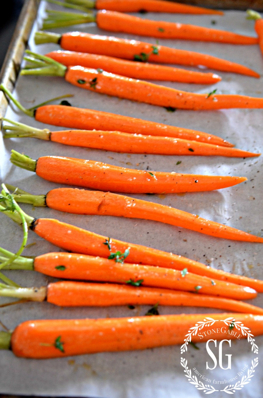 ROASTED ORGANIC CARROTS WITH THYME- sweet, scrumptious, filled with flavor-stonegableblog.com