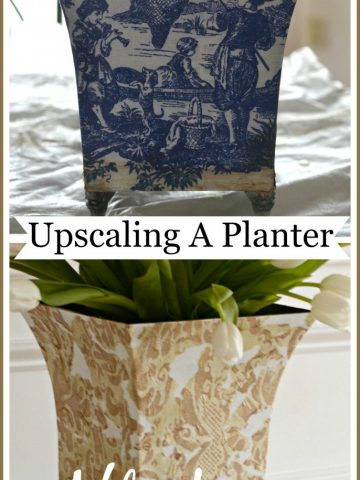 UPSCALING A PLANTER- budget friendly decorating-stonegableblog.com