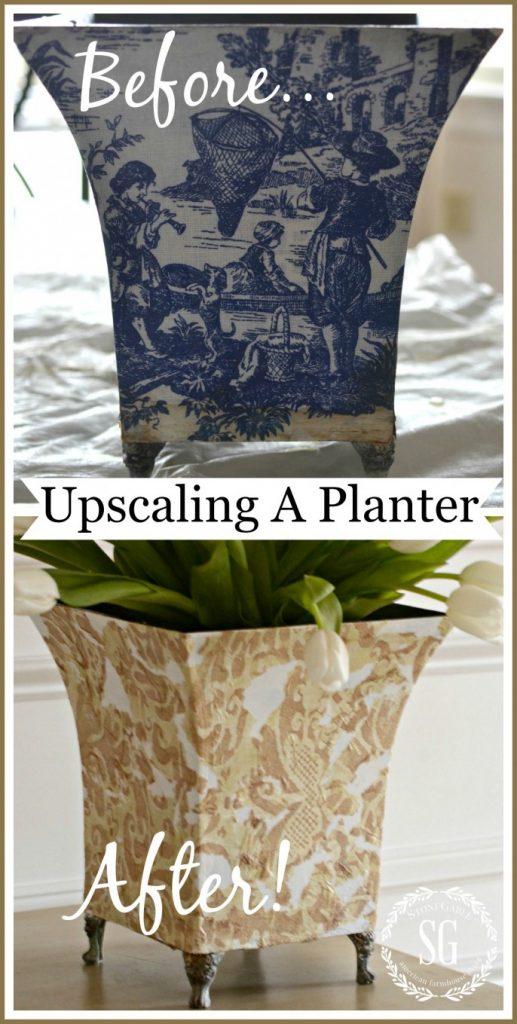 UPSCALING A PLANTER- budget friendly decorating-stonegableblog.com