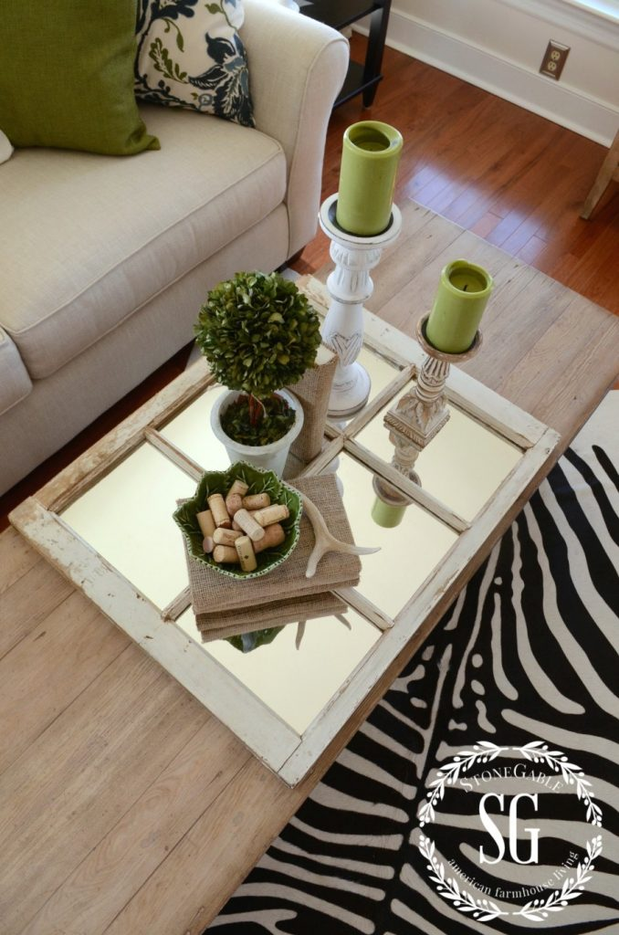 USING A MIRROR IN A VIGNETTE-beautiful way to display a vignette-stonegableblog,com