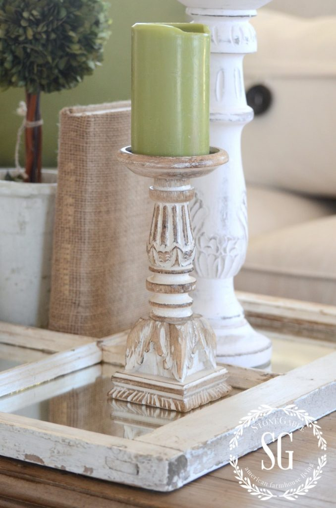 USING A MIRROR IN A VIGNETTE-neutrals and green-stonegableblog,com