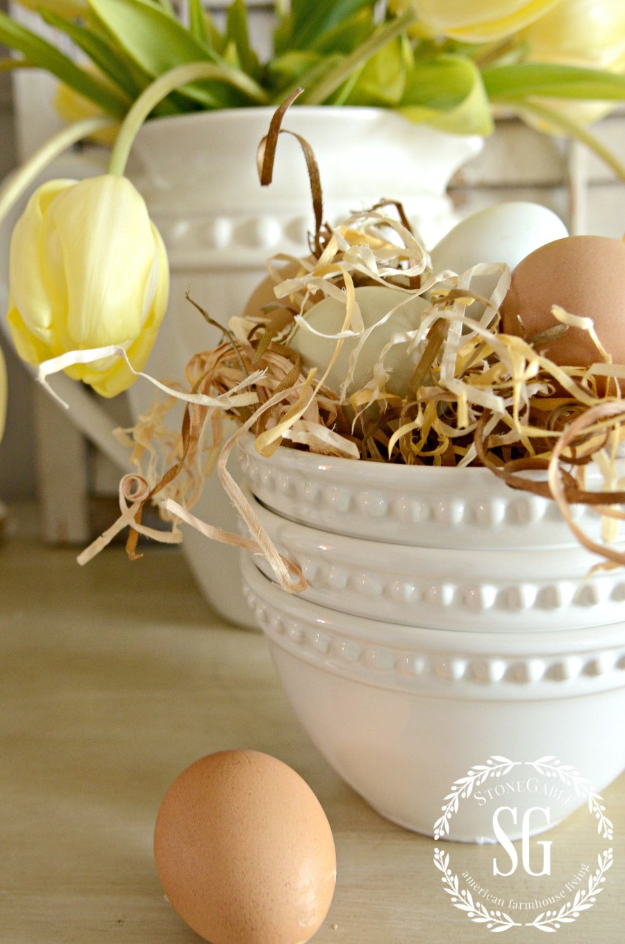 10 MINUTE DECOR-SPRING EDITION- eggs in stack of bowls-stonegableblog.com