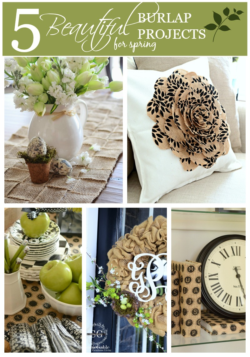 5 BEATUTIFUL BURLAP PROJECTS FOR SPRING-update your home with trendy burlap-stonegableblog.com