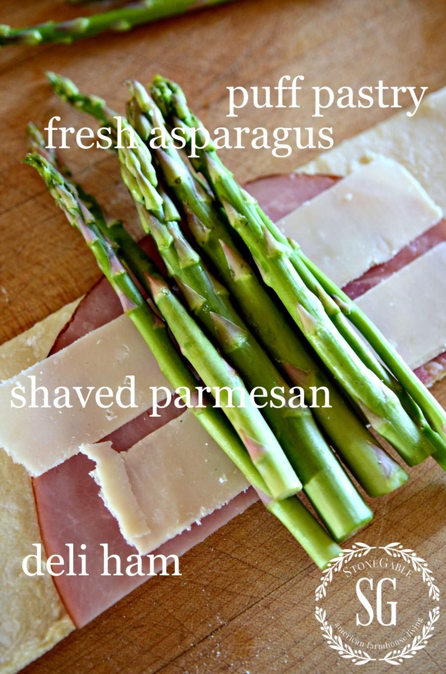 ASPARAGUS HAM AND PARMESAN PUFF PASTRY BUNDLES- ingredients-stonegableblog.com