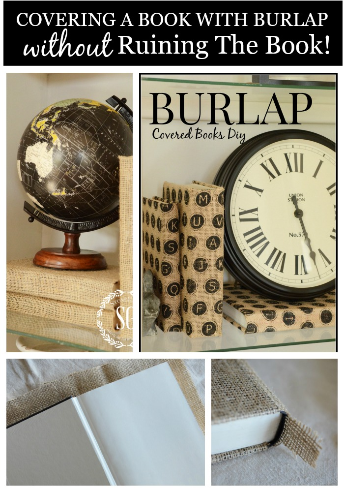 BURLAP COVERED BOOK DIY-easy and looks fabulous-stonegableblog.com