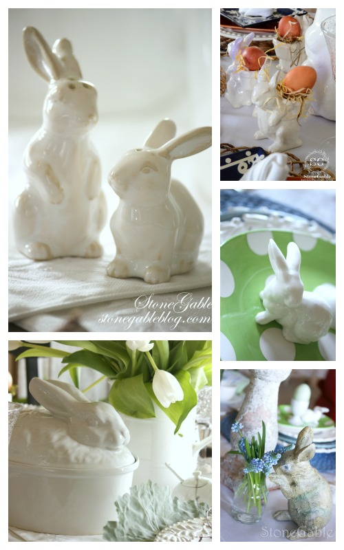 EASTER TABLE IDEAS-bunnies on table-stonegableblog.com