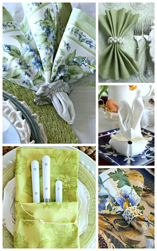 EASTER TABLE IDEAS-napkin ideas -stonegableblog.com
