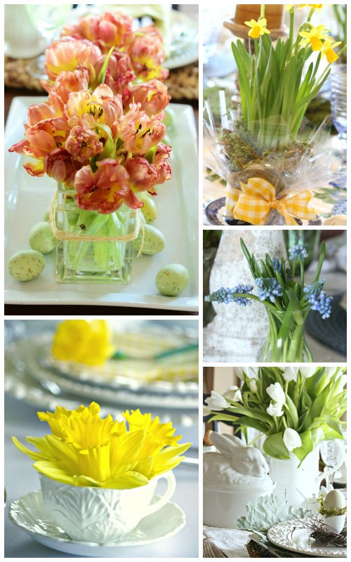 EASTER TABLE IDEAS- seasonal flowers-stonegableblog.com