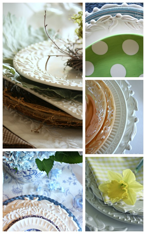 EASTER TABLE IDEAS- stacking dishes-easter colors-stonegableblog.com