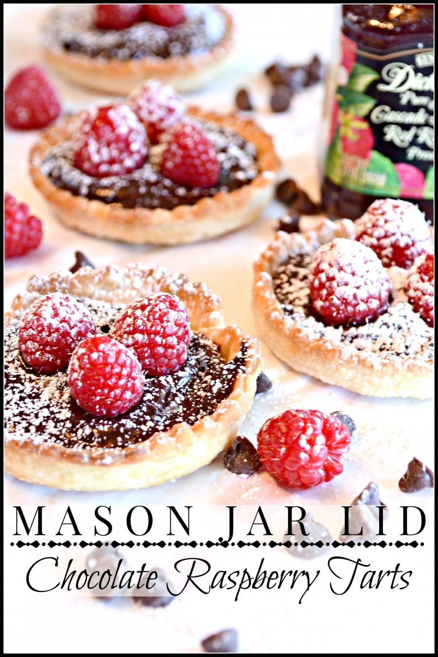 MASON JAR LID CHOCOLATE RASPBERRY TARTS