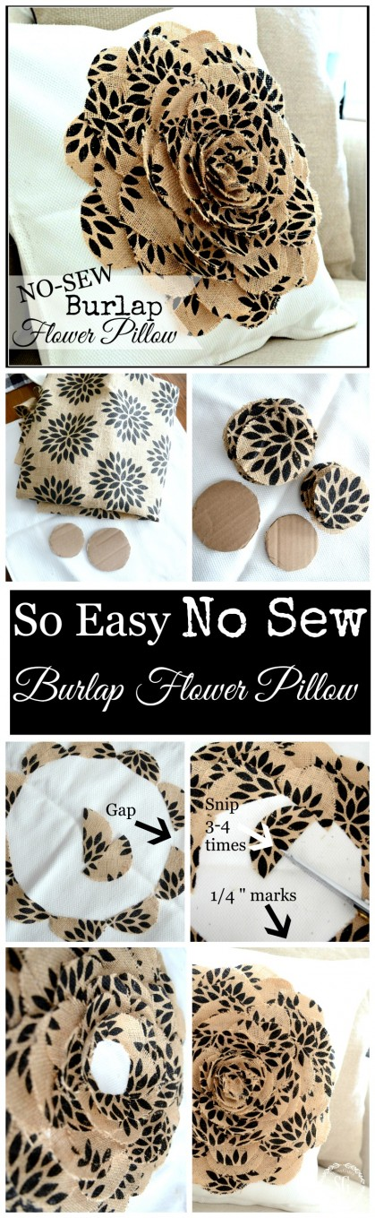 NO SEW BURLAP FLOWER PILLOW-so easy to make-cut, glue, done-stonegableblog.com