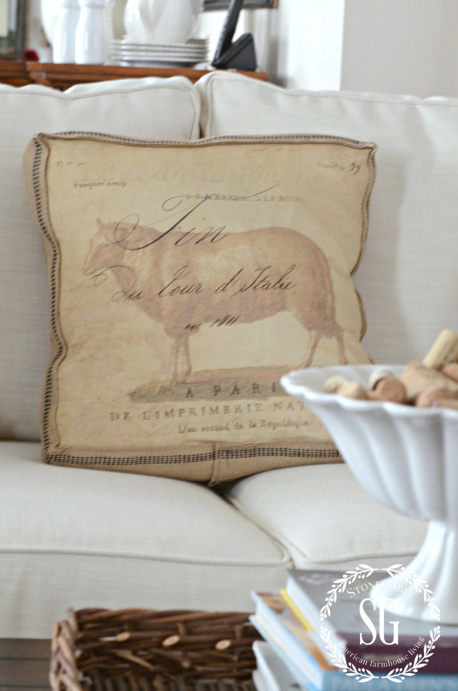 POTTERY BARN SOFA-cushions and sheep pillow-stonegableblog.com