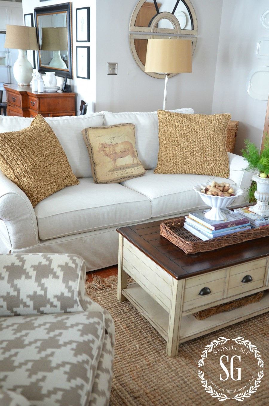 POTTERY BARN SOFA- slipcovered sofa-stonegableblog.com