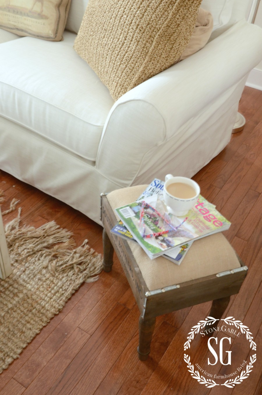 POTTERY BARN SOFA-sofa and burlap stool-stonegableblog.com