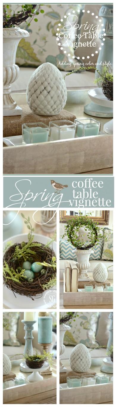 Spring coffee table vignette stonegable for Decor vignette