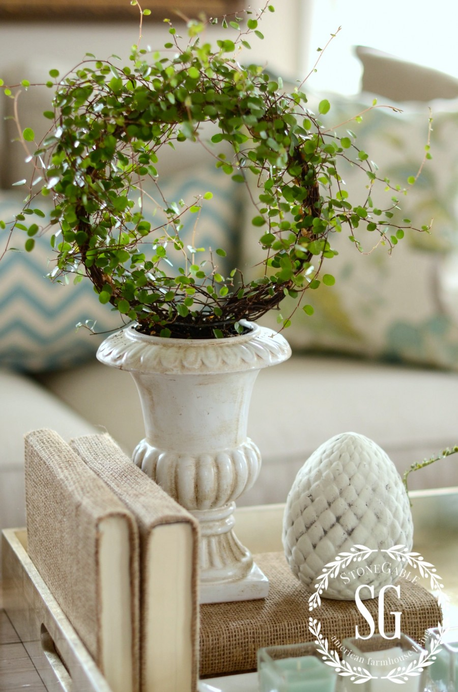 SPRING COFFEE TABLE VIGNETTE- round wire plant-stonegableblog.com