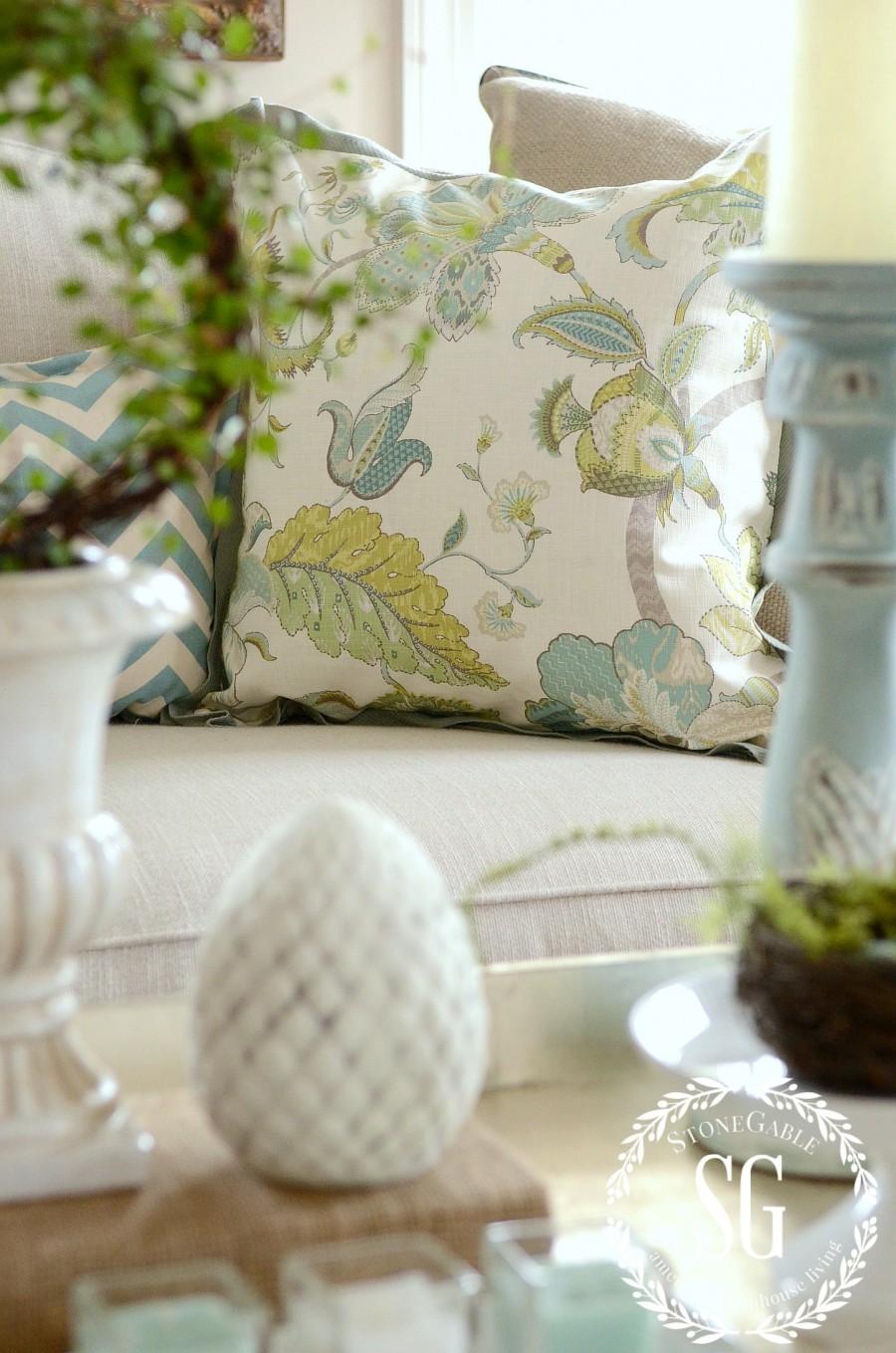 SPRING COFFEE TABLE VIGNETTE- spring pillows-stonegableblog.com