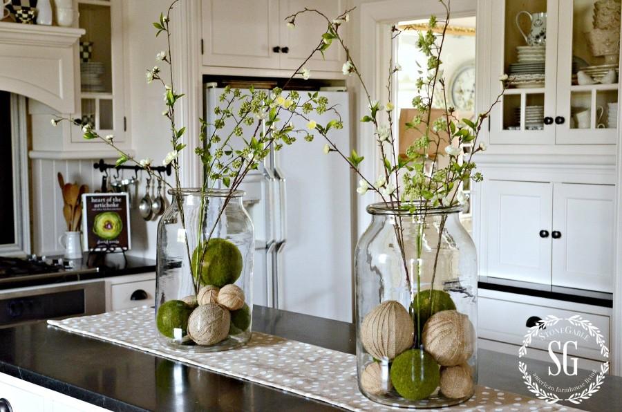 SPRING ISLAND JAR VIGNETTE-big jars filled with spring twigs-stonegableblog.com