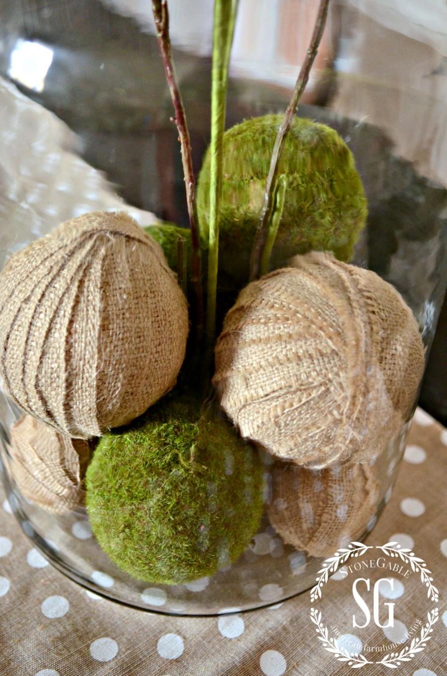 SPRING ISLAND JAR VIGNETTE-burlap and moss balls in jar-stonegableblog.com