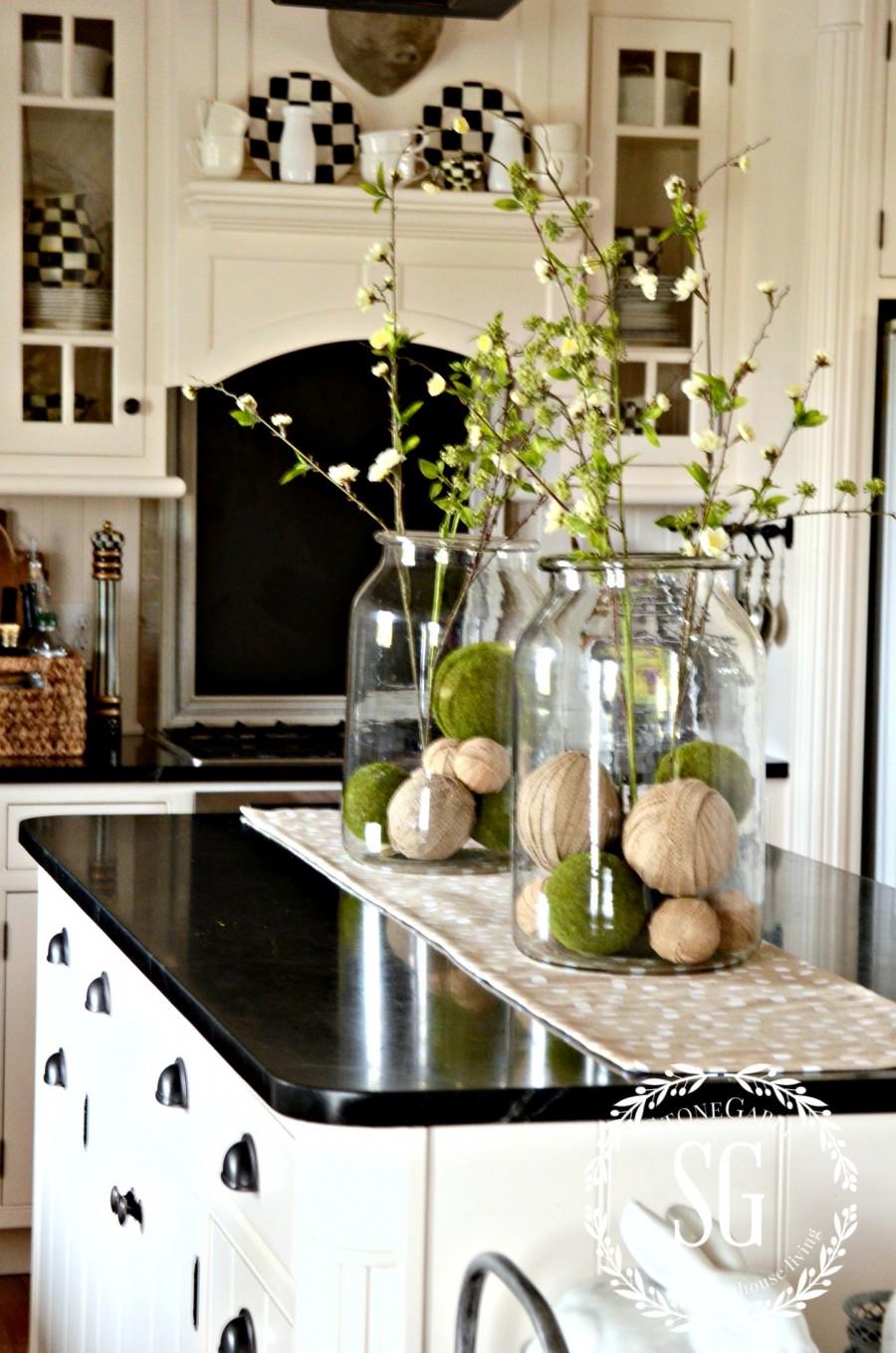 kitchen island decoration ideas | FARMHOUSE SPRING ISLAND VIGNETTE - StoneGable