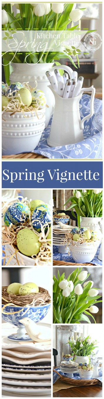 SPRING KITCHEN TABLE VIGNETTE-an easy and fresh way to decorate for spring-stonegableblog.com