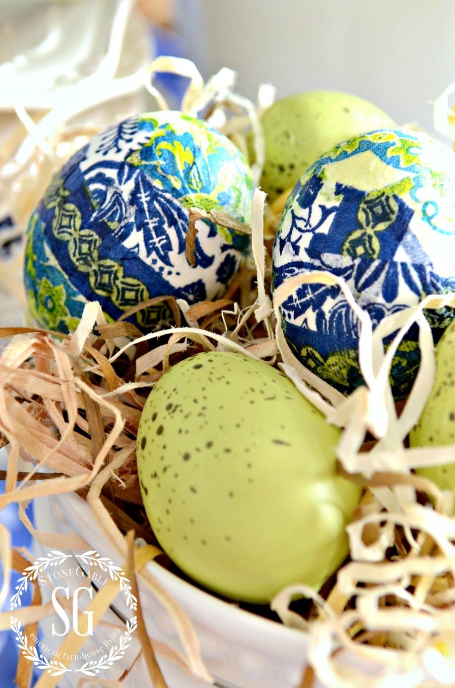 SPRING KITCHEN TABLE VIGNETTE-blue and green tissue covered eggs-close up-stonegableblog.com