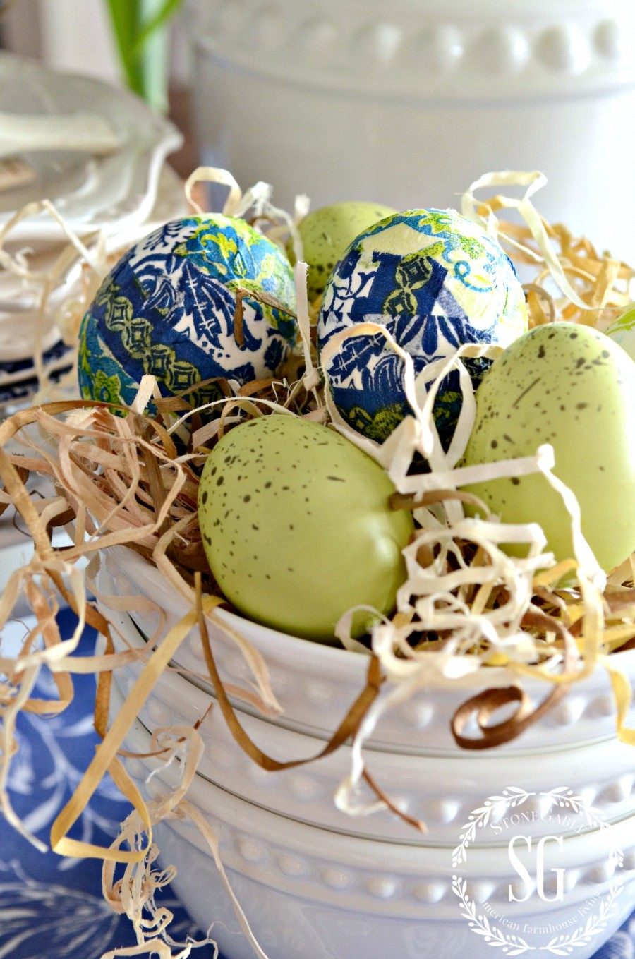 SPRING KITCHEN TABLE VIGNETTE-blue and green tissue covered eggs-stonegableblog.com