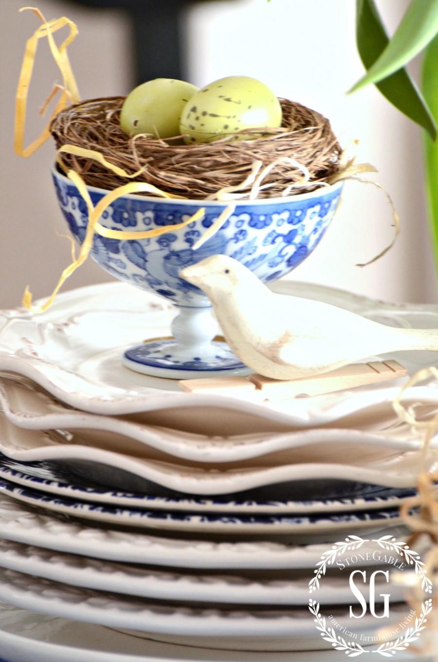 SPRING KITCHEN TABLE VIGNETTE-blue and white dish with nest-stonegableblog.com