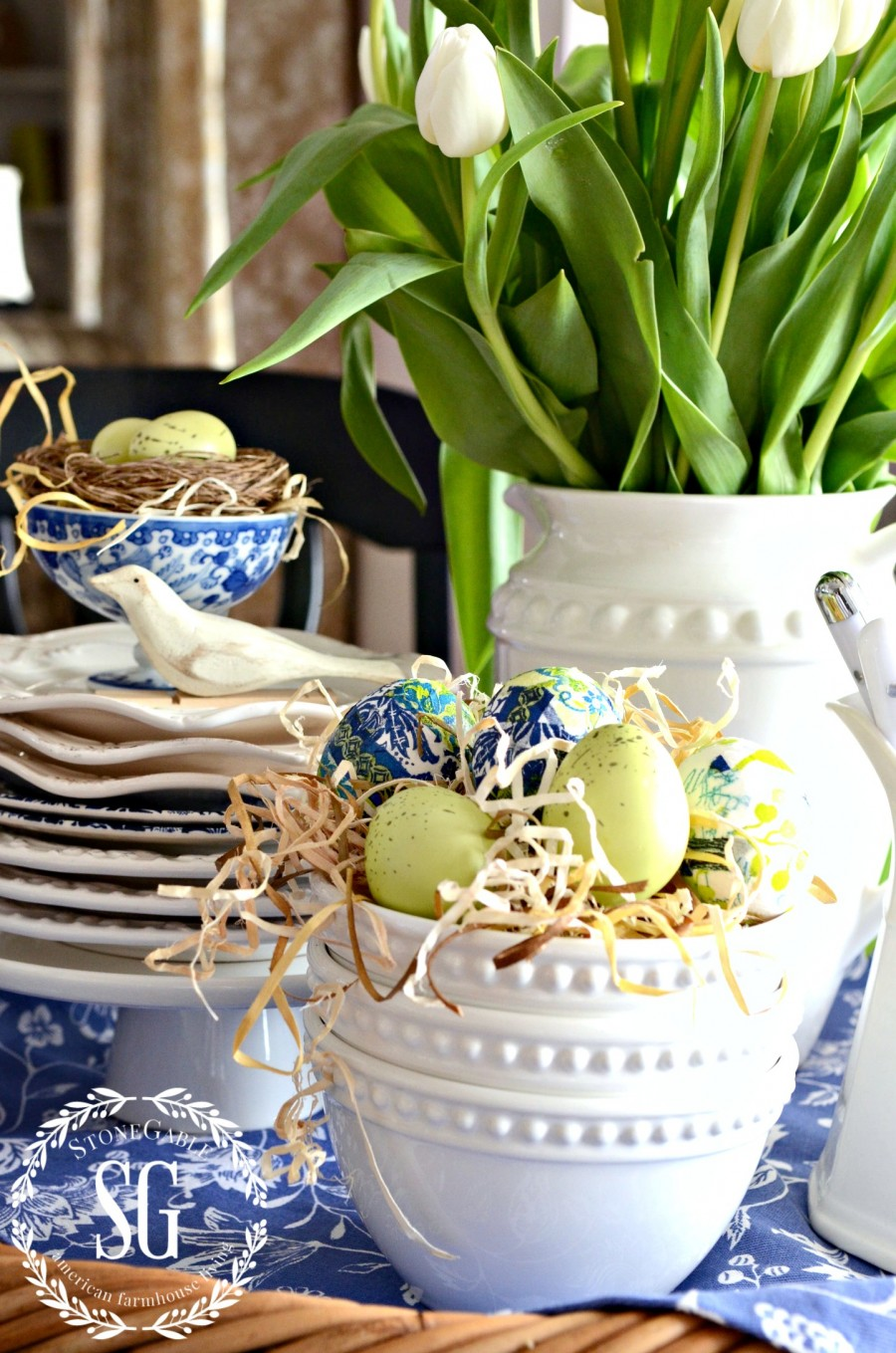 SPRING KITCHEN TABLE VIGNETTE-blue tea towel-colorful eggs-stonegableblog.com
