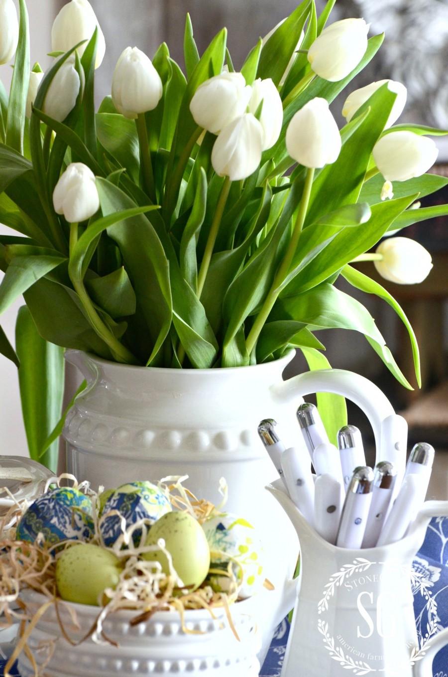 SPRING KITCHEN TABLE VIGNETTE-white flatware in an ironstone pitcher-stonegableblog.com