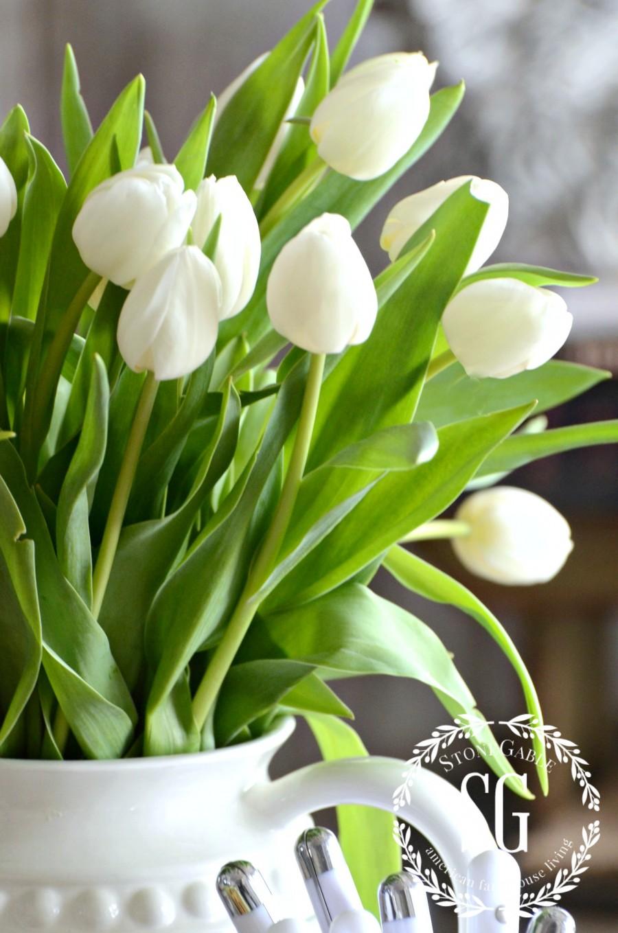 SPRING KITCHEN TABLE VIGNETTE-white tulips in an ironstone pitcher-stonegableblog.com