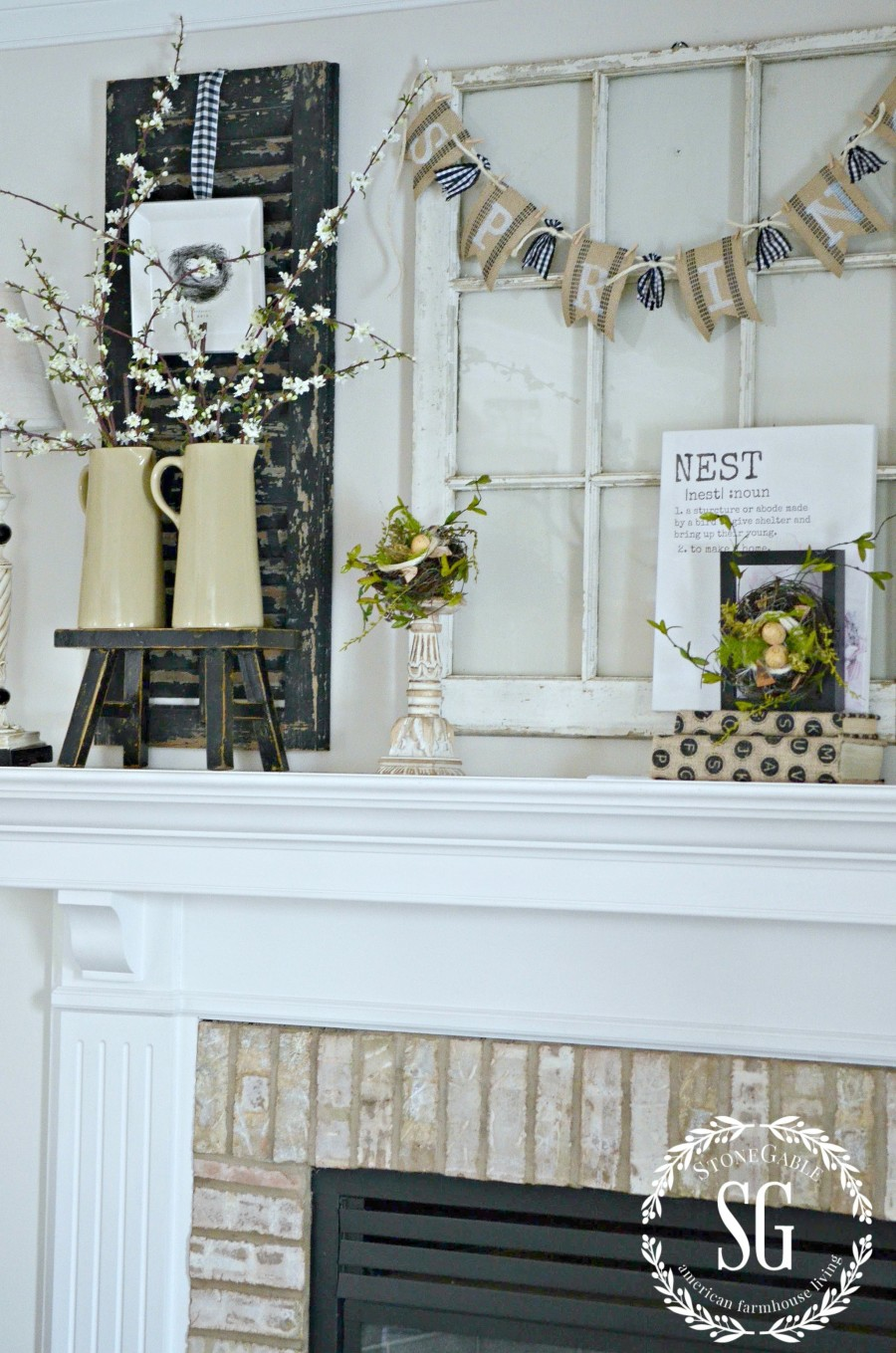 SPRING MANTEL-blooms in pitchers-stonegableblog.com
