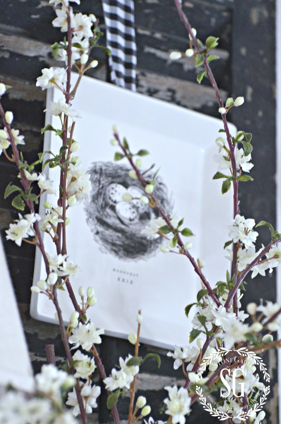 SPRING MANTEL-faux spring blooms-stonegableblog.com