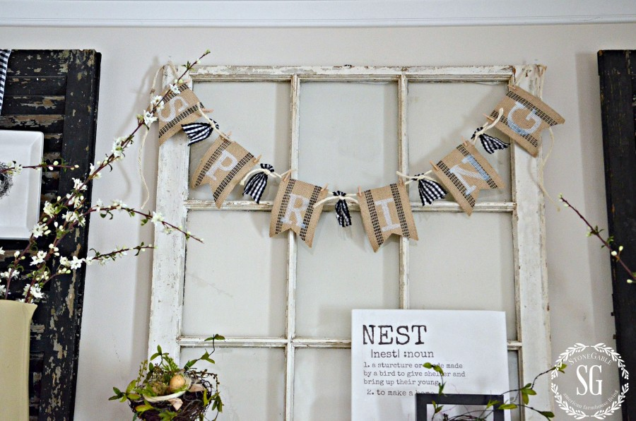 SPRING MANTEL-spring banner in black and white and burlap-stonegableblog.com