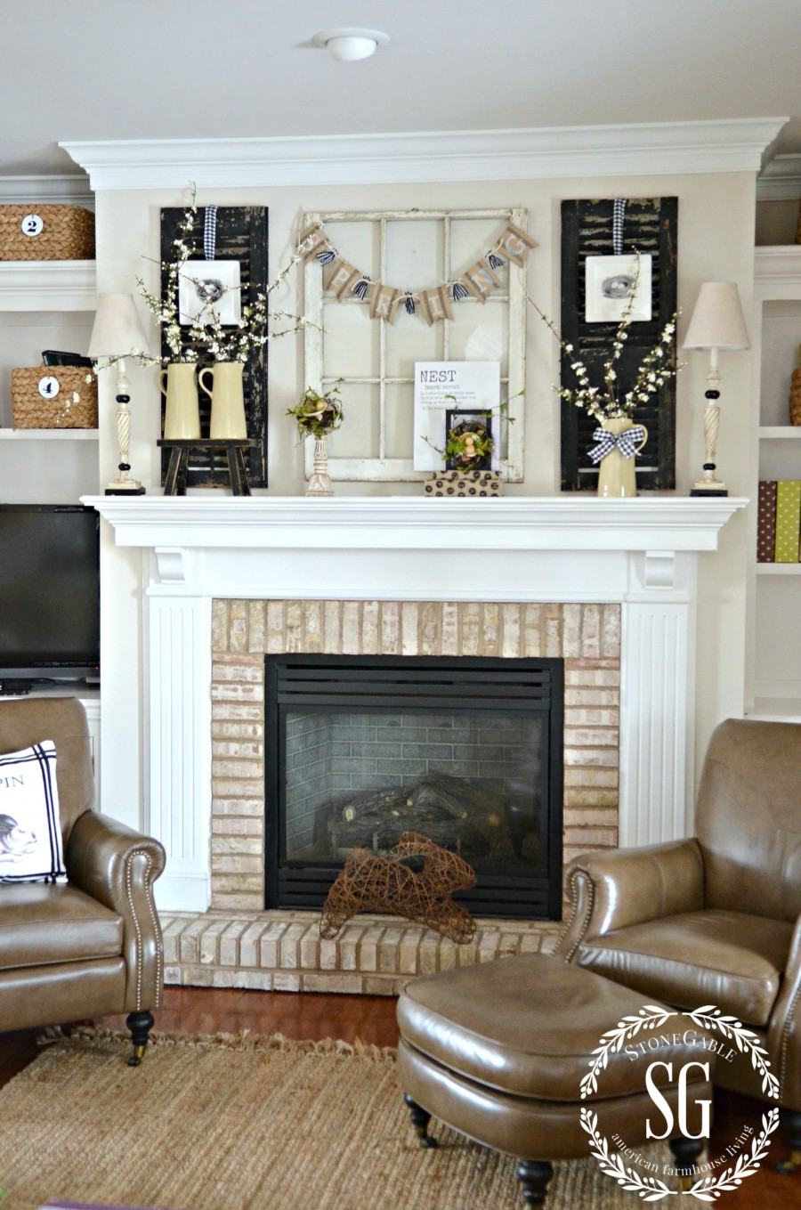 SPRING MANTEL-spring decor in the family room-stonegableblog.com