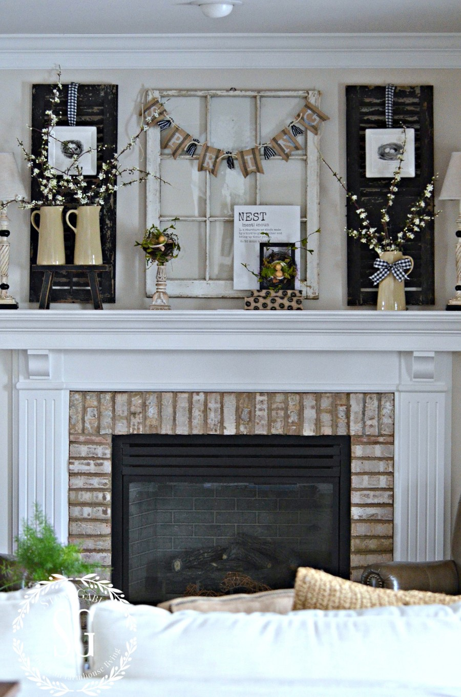 SPRING MANTEL-spring mantel in the family room-stonegableblog.com