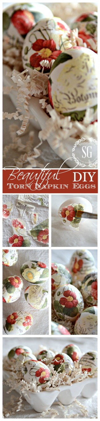 TORN TISSUE EGGS- Beautiful, artistic and easy-to-make eggs-stonegableblog.com
