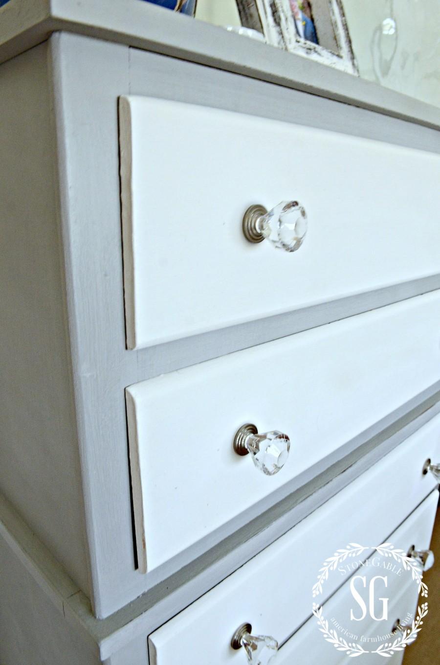 TWO TONED DRESSER DIY-blue and white dresser-stonegableblog.com