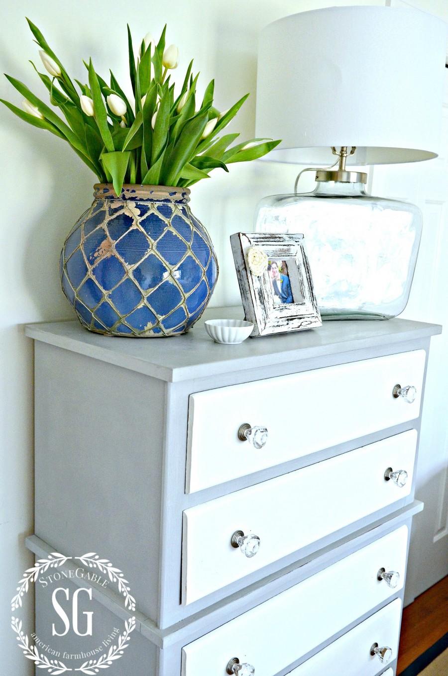 TWO TONED DRESSER DIY- crisp and clean paris grey and white dresser-stonegableblog.com