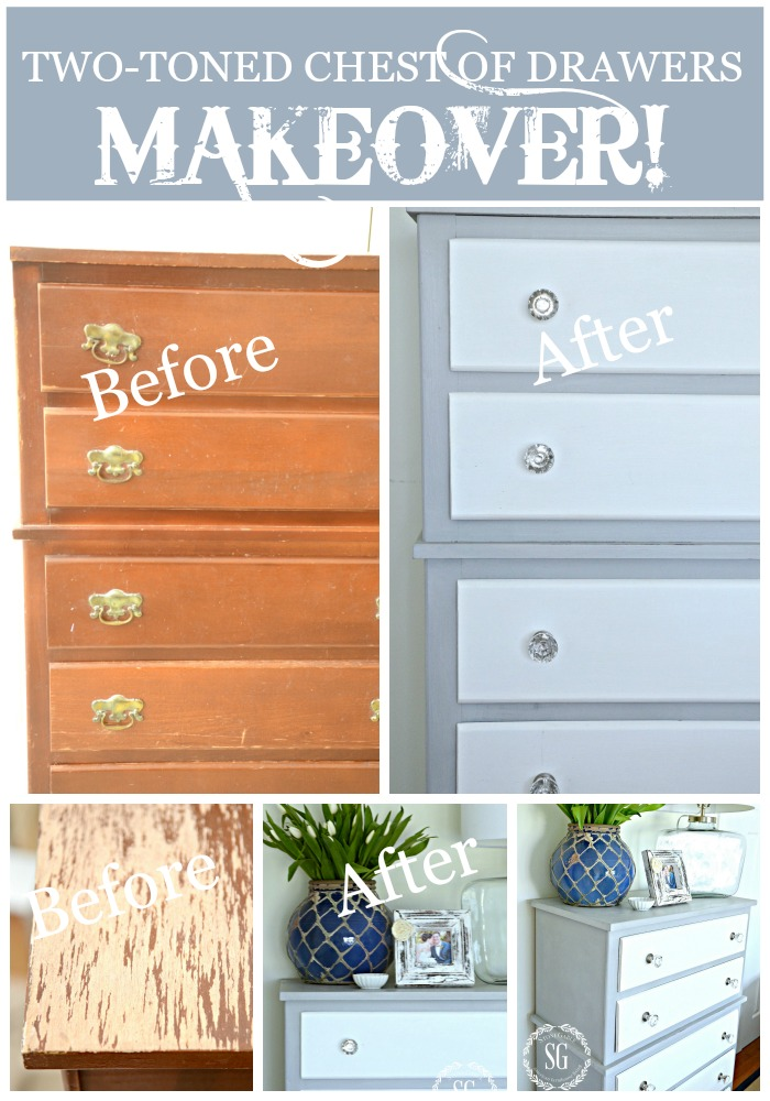 TWO TONED PARIS GREY AND WHITE CHEST OF DRAWERS DIY- just like magic-stonegableblog.com